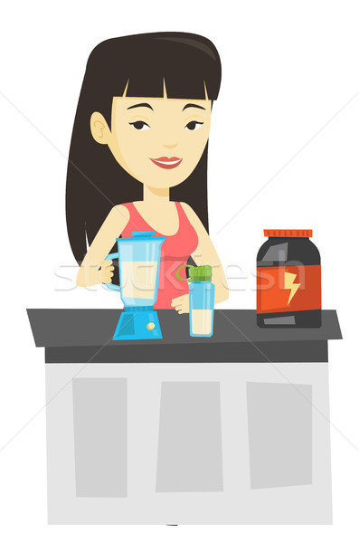 Jonge vrouw eiwit cocktail vrouw bodybuilding Stockfoto © RAStudio