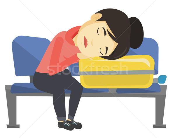 Kimerült nő alszik bőrönd repülőtér ázsiai Stock fotó © RAStudio