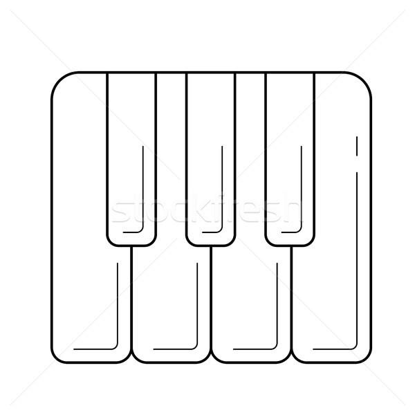 Teclas de piano línea icono vector aislado blanco Foto stock © RAStudio