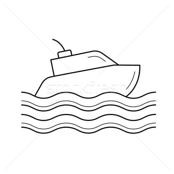 Jacht line ikona łodzi odizolowany biały Zdjęcia stock © RAStudio