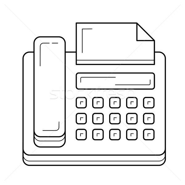 Télécopieur ligne icône vecteur isolé blanche Photo stock © RAStudio