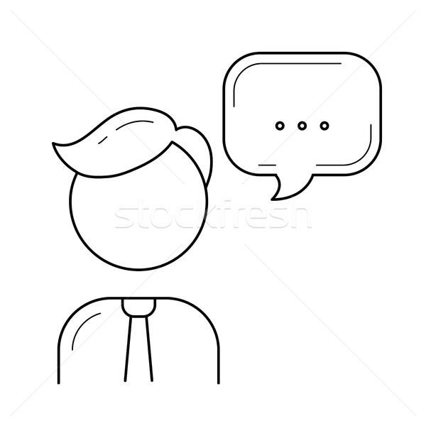 Konuşmacı hat ikon vektör yalıtılmış beyaz Stok fotoğraf © RAStudio