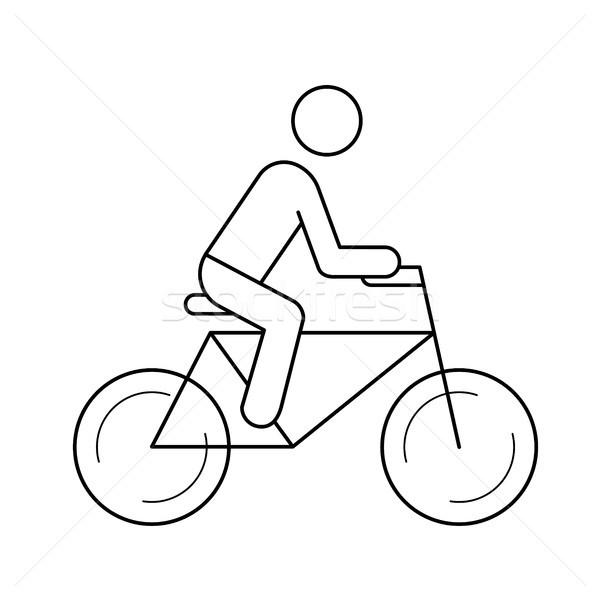 велосипедов Велоспорт линия икона вектора изолированный Сток-фото © RAStudio