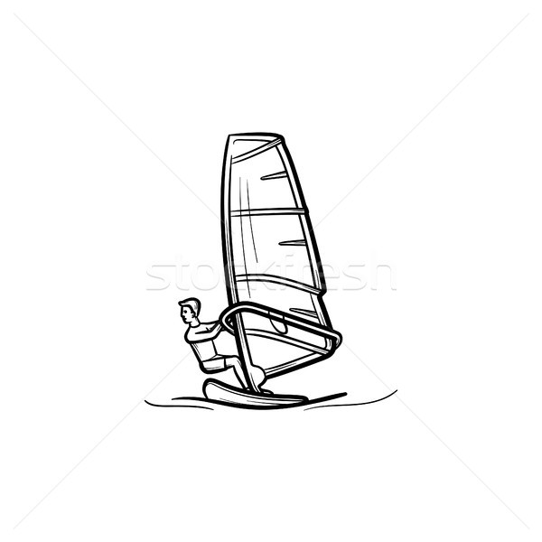 Wind surfing hand drawn sketch icon. Stock photo © RAStudio