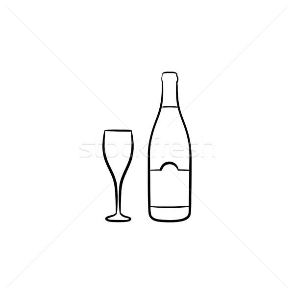 Bottiglia di vino sketch icona contorno doodle Foto d'archivio © RAStudio