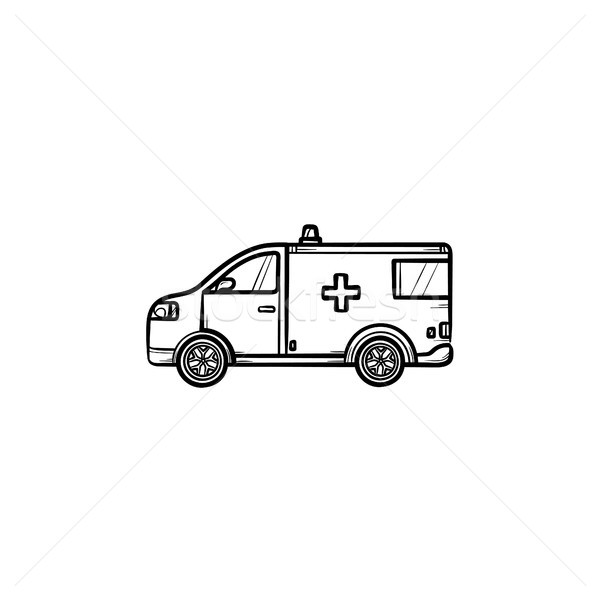 Voiture dessinés à la main doodle icône ambulance Photo stock © RAStudio