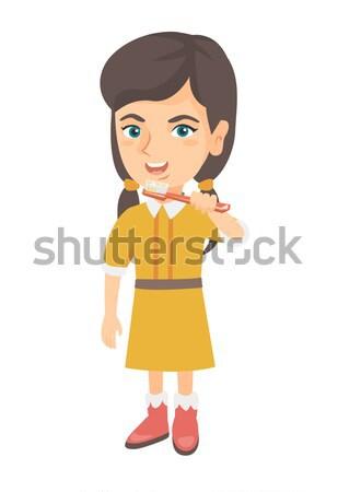 девушки Дать бумаги прилагается буфер обмена счастливым Сток-фото © RAStudio