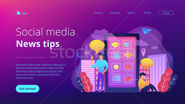 Social media and news tips landing page. Stock photo © RAStudio
