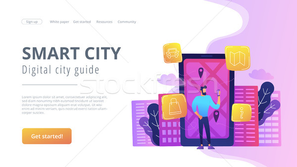 Smart city and digital city guide landing page. Stock photo © RAStudio