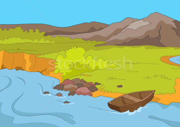 Lac rive cartoon eps 10 eau Photo stock © RAStudio