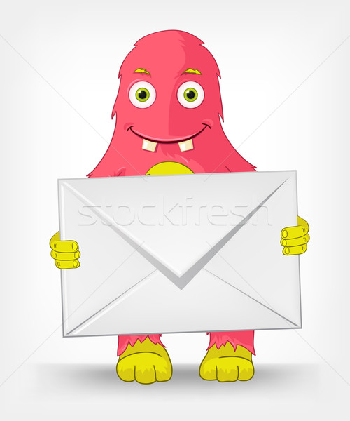 смешные монстр почтальон изолированный серый Сток-фото © RAStudio