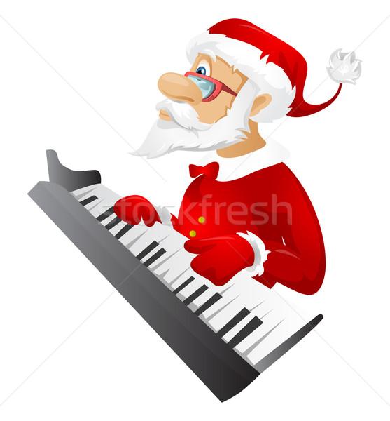 Kerstman geïsoleerd grijs helling pianist Stockfoto © RAStudio
