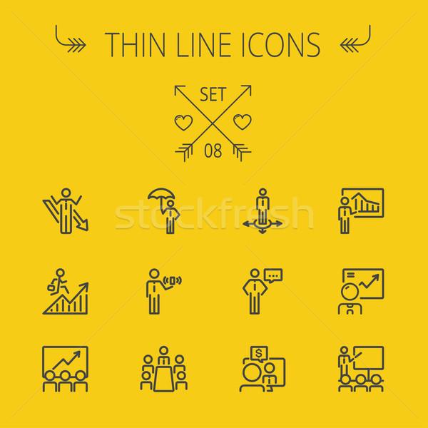 Business thin line icon set. Stock photo © RAStudio