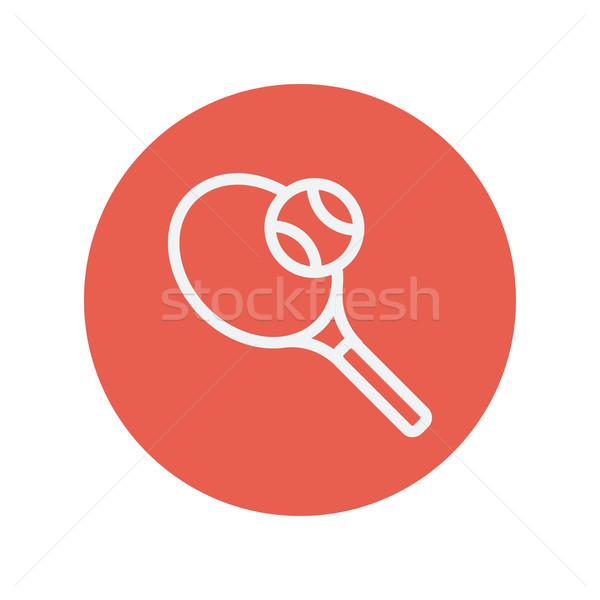 Racchetta da tennis palla sottile line icona web Foto d'archivio © RAStudio