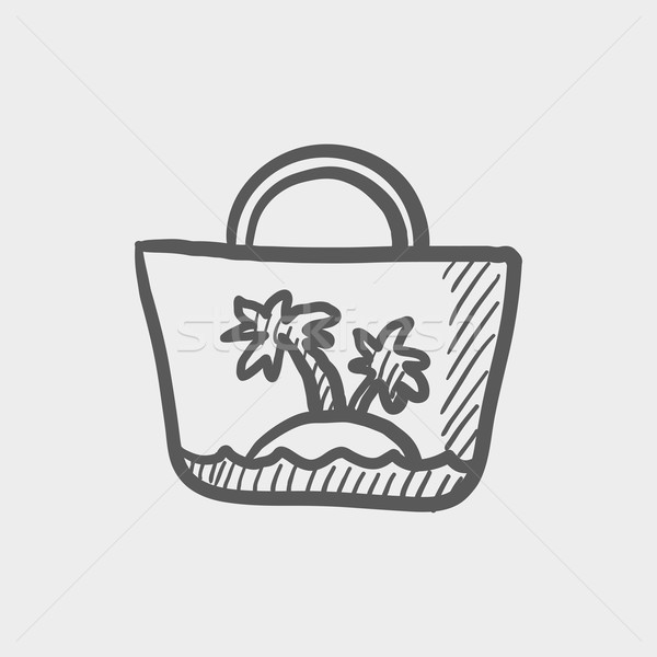 ストックフォト: 夏 · 袋 · スケッチ · アイコン · ウェブ · 携帯