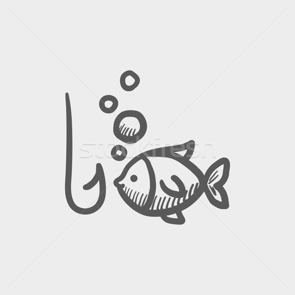 Peces gancho boceto icono web móviles Foto stock © RAStudio