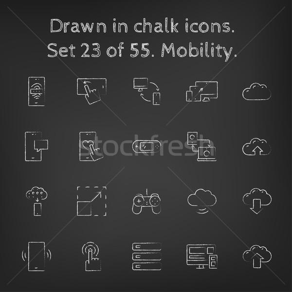 Stock photo: Mobility icon set drawn in chalk.