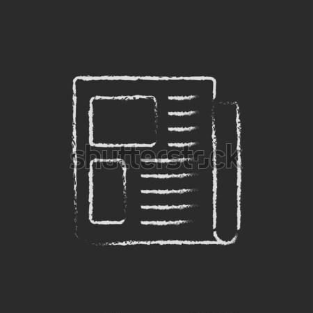 Journal icône craie dessinés à la main tableau noir Photo stock © RAStudio