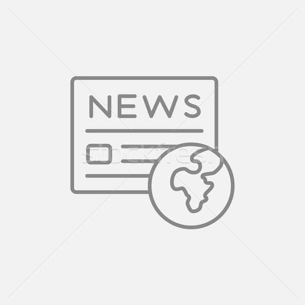 Internationale krant lijn icon web mobiele Stockfoto © RAStudio