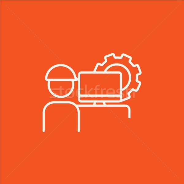Computerized production line icon. Stock photo © RAStudio