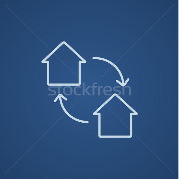 Ház csere vonal ikon háló mobil Stock fotó © RAStudio