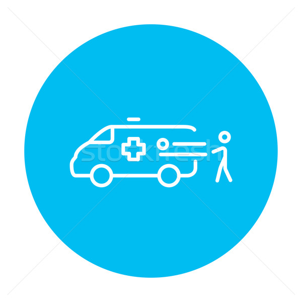 Man with patient and ambulance car line icon. Stock photo © RAStudio