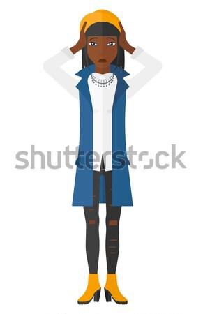 Kadın işaret yukarı işaret parmağı vektör dizayn Stok fotoğraf © RAStudio