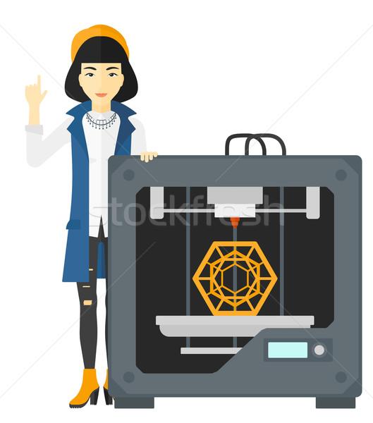 Woman with three D printer. Stock photo © RAStudio