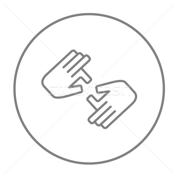 Stock photo: Finger language line icon.