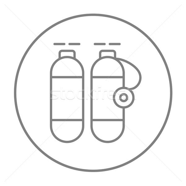 Oxigênio tanque linha ícone teia móvel Foto stock © RAStudio