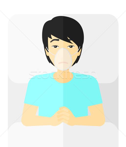 Hasta Asya oksijen maskesi vektör dizayn Stok fotoğraf © RAStudio