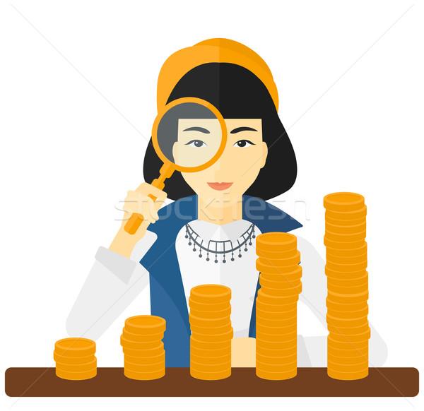 женщину монетами азиатских Сток-фото © RAStudio