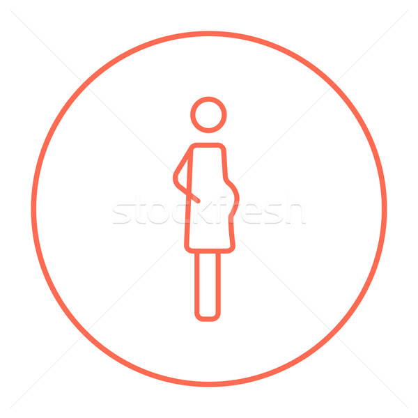 Pregnant woman line icon. Stock photo © RAStudio