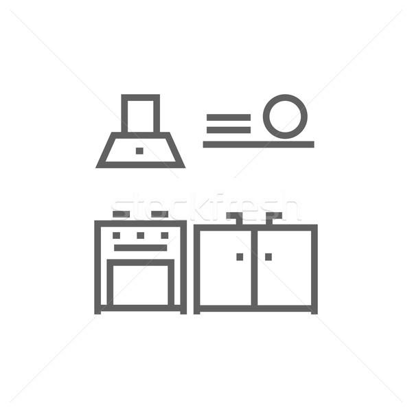 Kitchen interior line icon. Stock photo © RAStudio