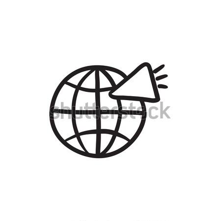 Globe with loudspeaker line icon. Stock photo © RAStudio