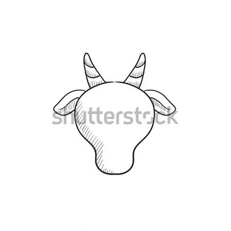 Vaca cabeça linha ícone teia Foto stock © RAStudio
