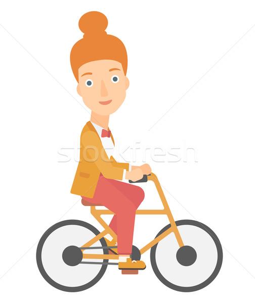 Nő biciklizik munka vektor terv illusztráció Stock fotó © RAStudio