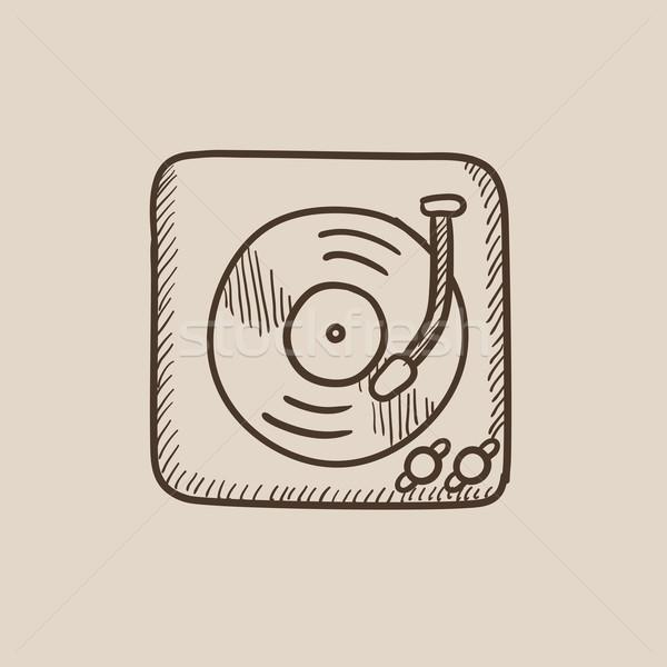 Gramofonu szkic ikona internetowych komórkowych infografiki Zdjęcia stock © RAStudio