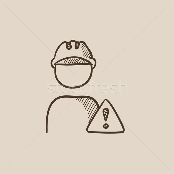 Worker with caution sign sketch icon. Stock photo © RAStudio