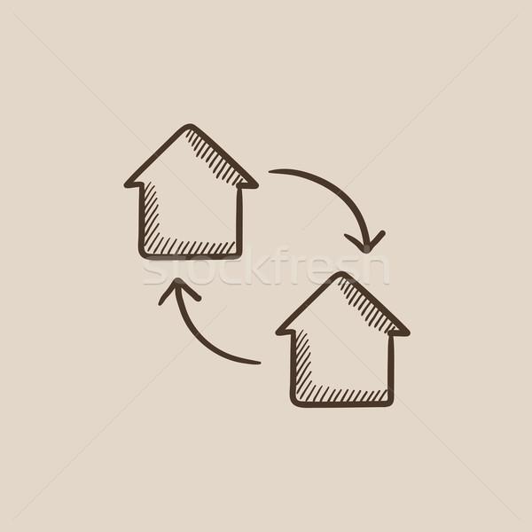 Ev değiştirme kroki ikon web hareketli Stok fotoğraf © RAStudio