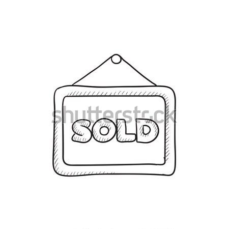 Eladva plakát rajz ikon háló mobil Stock fotó © RAStudio