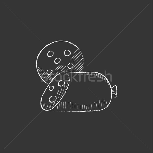 Sliced wurst. Drawn in chalk icon. Stock photo © RAStudio