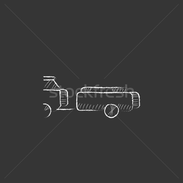 Car with trailer. Drawn in chalk icon. Stock photo © RAStudio