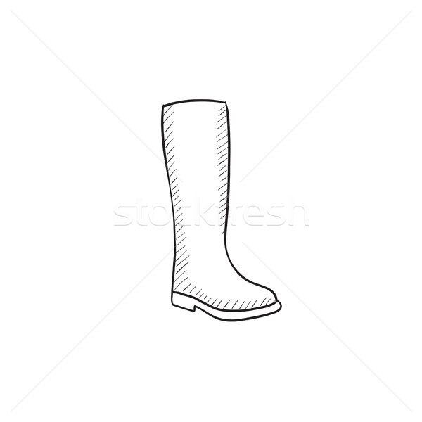 Stock photo: High boot sketch icon.