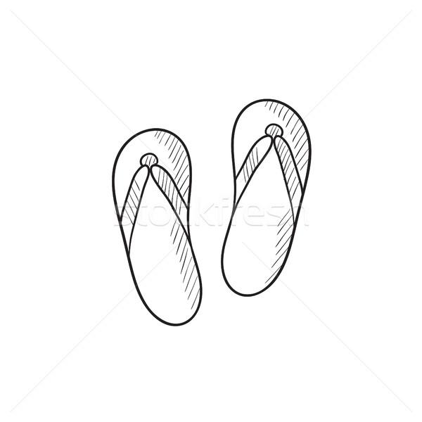 Strand pantoffel schets icon vector geïsoleerd Stockfoto © RAStudio