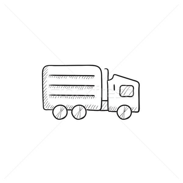 Camión de reparto boceto icono vector aislado dibujado a mano Foto stock © RAStudio