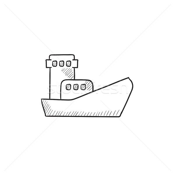 Vracht containerschip schets icon vector geïsoleerd Stockfoto © RAStudio