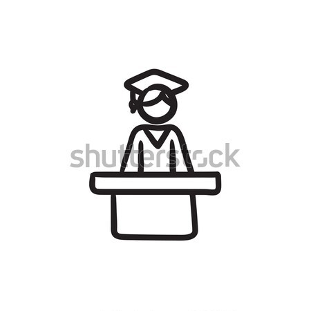 Stock photo: Graduate standing at the tribune sketch icon.