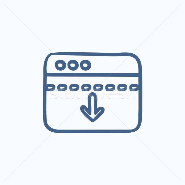 Browser window with arrow down sketch icon. Stock photo © RAStudio