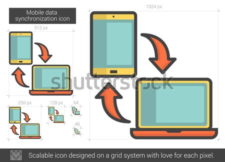 Mobile data synchronization line icon. Stock photo © RAStudio